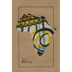 Set of 4 Map of Africa Kitenge Fabric Cards (Kenya)