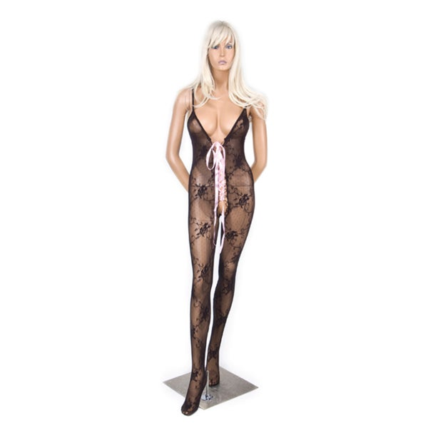 Hustler Black Lace-up Bodystocking