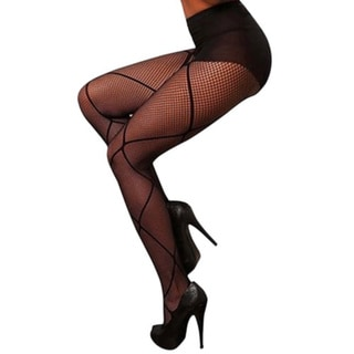 Hustler Black Control Top Diamond Fishnet Pantyhose (Set of 2)