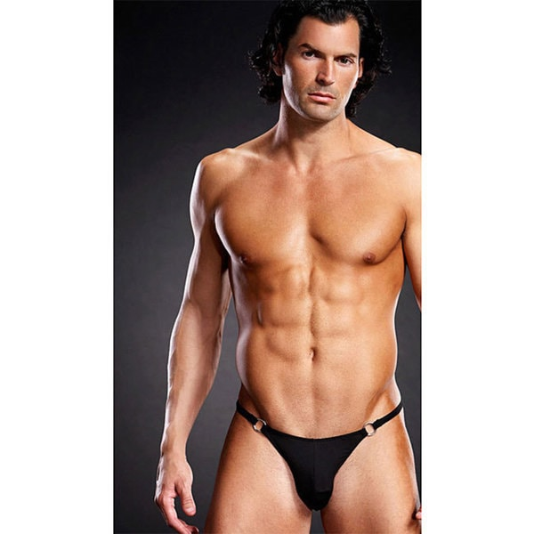 Emaje' Performance Black Microfiber Thong with Metal Rings (Set of 3)