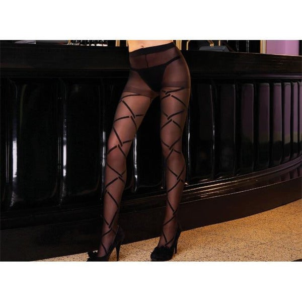 Emaje' Women's Black Fenced In Pantyhose (Pack of 2)