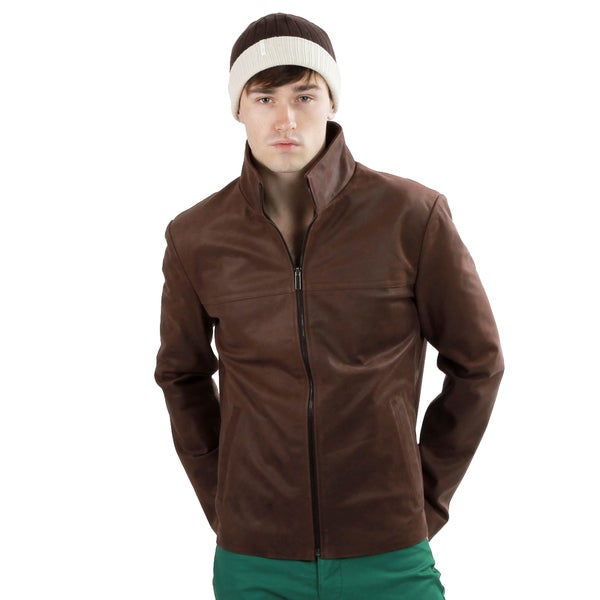 United Face Men's Vintage Brown Italian Lambskin Leather Jacket
