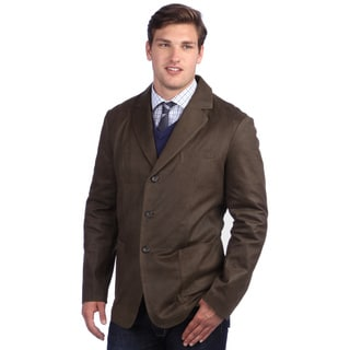United Face Men's Vintage Brown Leather 3-button Blazer Jacket