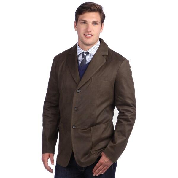 United Face Men's Vintage Brown Leather 3-button Blazer Jacket