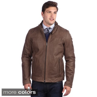 United Face Men's Textured Lambskin Leather Biker Jacket