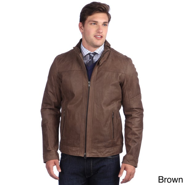 United Face Men's Textured Lambskin Leather Biker Jacket