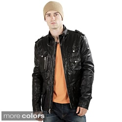 United Face Men's Military Inspired Textured Lambskin Leather Jacket