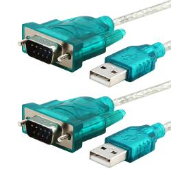 Translucent USB 2.0 to RS232 Converter Cable (Pack of 2)