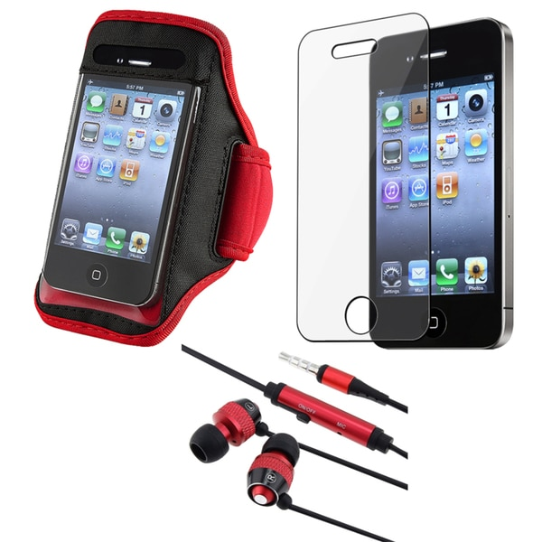 INSTEN Red SportBand/ Headset/ Screen Protector for Apple iPhone 4