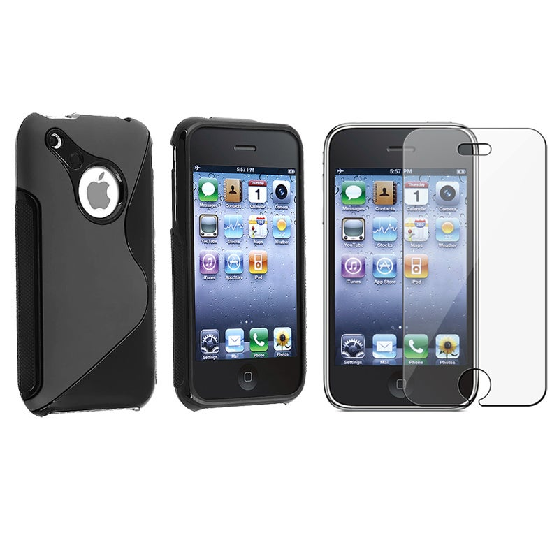 INSTEN Black TPU Rubber Skin Phone Case Cover/ Screen Protector for Apple iPhone 3GS