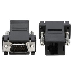 Black VGA Extender to RJ45 Adapter with Connectors (Set of Two)