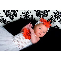 Baby White Tutu Dress with Red Flower Set