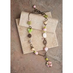 Bronzetone Pastels Vintage Necklace