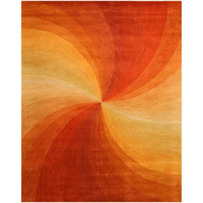 Hand-Tufted Wool Red Swirl Rug (7'9 x 9'9)