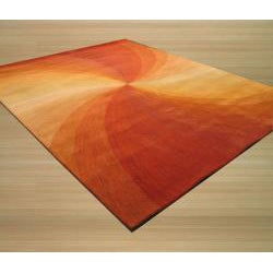 Hand-Tufted Wool Red Swirl Rug (7'9 x 9'9)