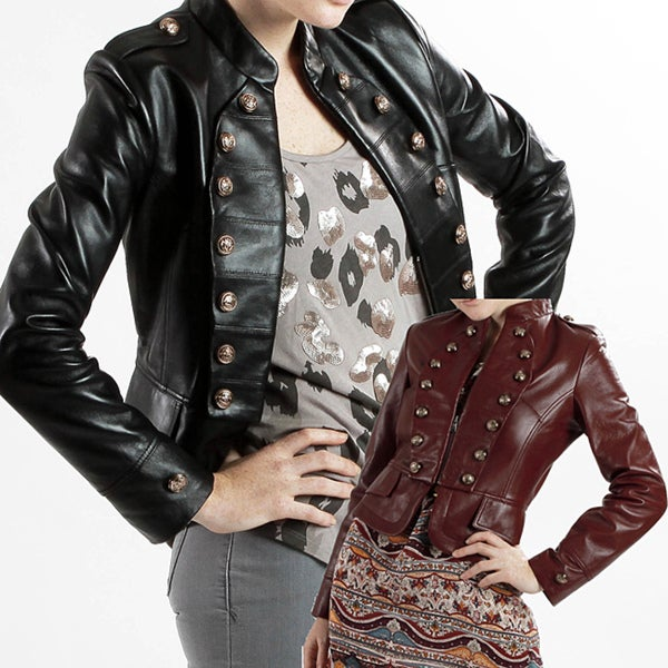 United Face Women's Lambskin Leather Military Jacket