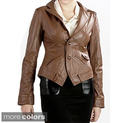 United Face Women's Textured Leather Blazer