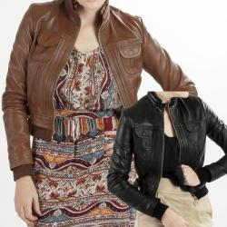 United Face Women's Lambskin Leather Bomber Jacket