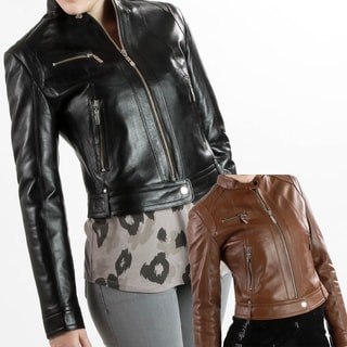 United Face Women's Lambskin Moto Scuba Leather Jacket