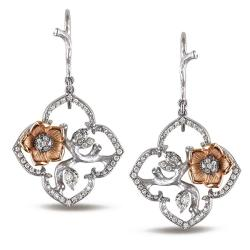 Miadora 14k Two-Tone Gold 1/2ct TDW Diamond Flower Earrings (G-H, SI1-SI2)