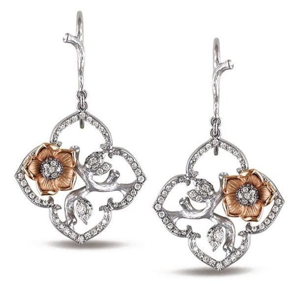Miadora Signature Collection 14k Gold 1/2ct TDW Diamond Flower Earrings (G-H, SI1-SI2)