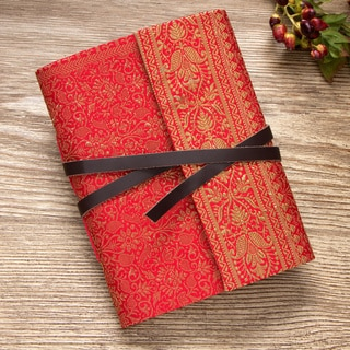 Silk and Leather Handmade Paper Journal (India)