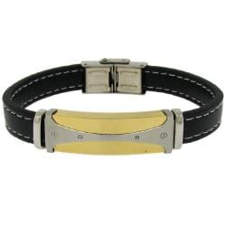 Moise Two-tone Stainless Steel Men's Black Leather Bracelet