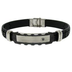 Two-tone Stainless Steel Men's Black Rubber ID Bracelet