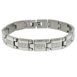 Moise Silvertone Men's Greek Key Link Bracelet