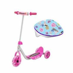 Razor Jr. Kiddie Kick Scooter With 3 Wheels Pink Plus Toddler Helmet
