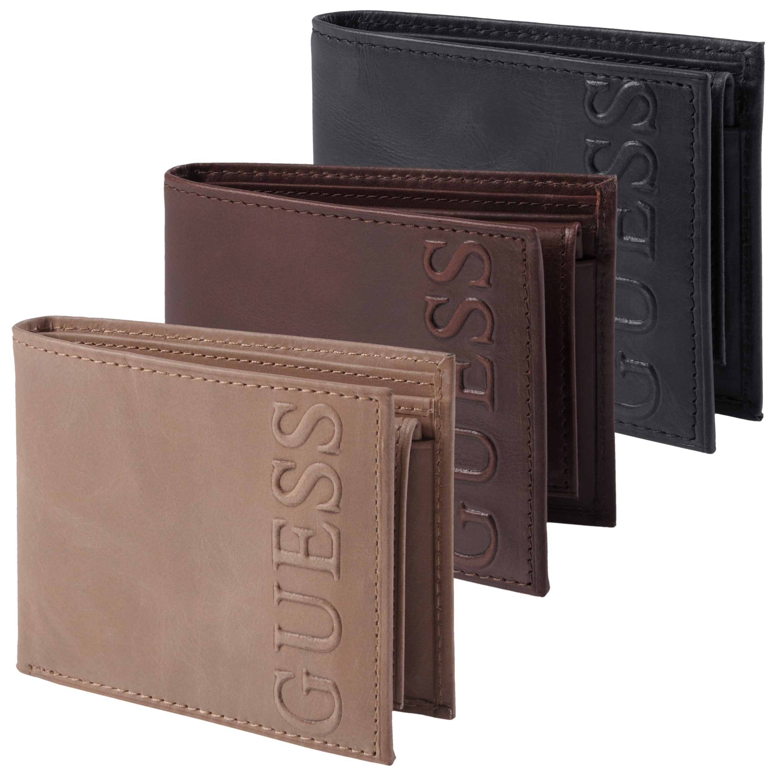 Guess Men's Distressed Embossed Bi-Fold Passcase Wallet