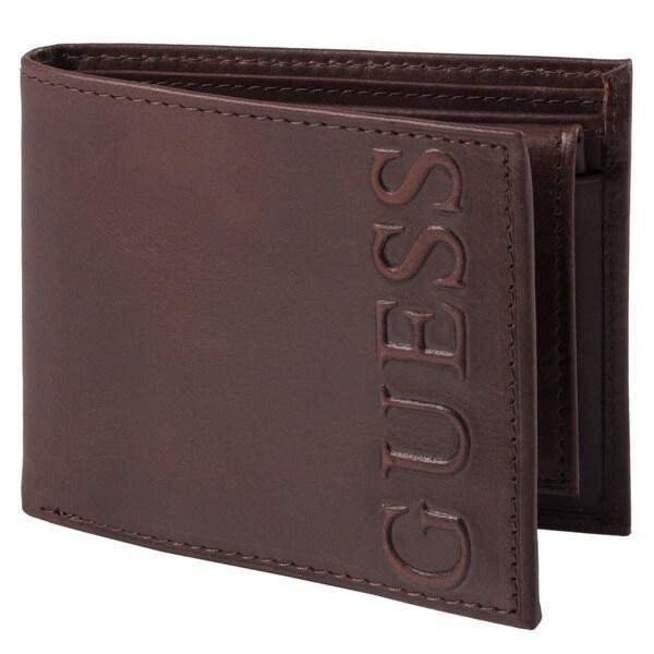 Guess Men's Distressed Embossed Bi-Fold Passcase Wallet