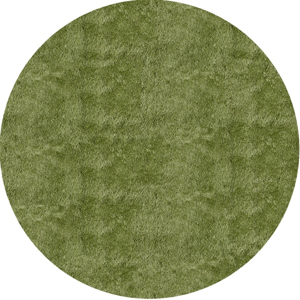 Handmade Posh Apple Green Shag Rug (4' X 4' Round