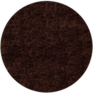 Handmade Posh Shag Chocolate Brown Rug (4' x 4')