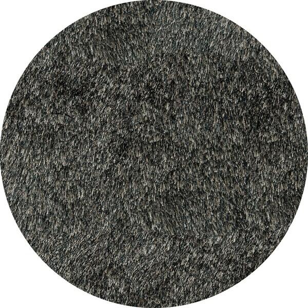 Handmade Posh Charcoal Shag Rug (4' x 4' Round)