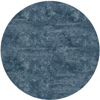 Handmade Posh Light Blue Shag Round Rug (4' x 4')