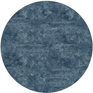 Handmade Posh Light Blue Shag Round Rug (4' x 4')