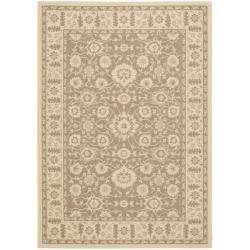 Brown/Cream Polypropylene Indoor/Outdoor Rug (8' x 11'2