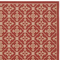 Safavieh Red/ Cream Indoor Outdoor Rug (5'3 x 7'7)