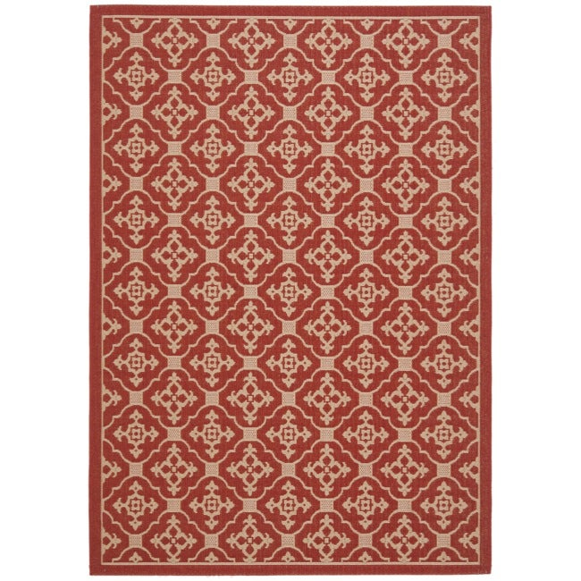 Safavieh Red Cream Indoor Outdoor Rug 6 7 x 9 6