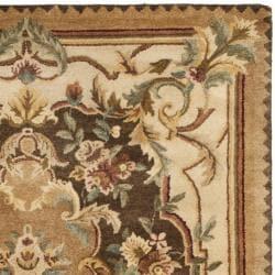 Safavieh Handmade Aubusson Creteil Brown/ Beige Wool Rug (4' x 6')