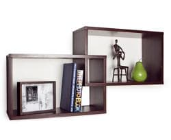 Intersecting Walnut Rectangular Shelves