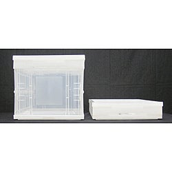 Clear Small Collapsible Crate with Lid (Pack of 4)