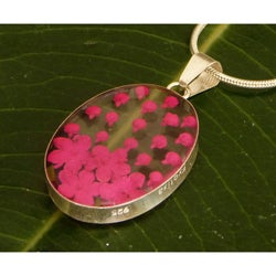 Sterling Silver Hot Pink Flower Necklace (Mexico)