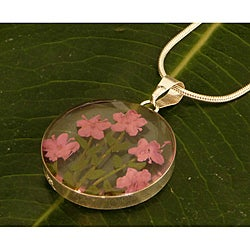 Sterling Silver Light Pink Flower Necklace (Mexico)