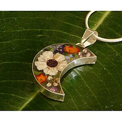 Sterling Silver Colorful Flower Half-Moon Necklace (Mexico)