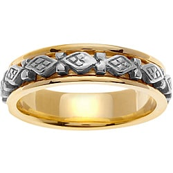 14k Two-tone Gold Men's Diamond-shape Celtic Wedding Band