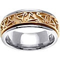 14k Two-tone Gold Men's Celtic Triangle Design Wedding Band