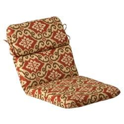 Pillow Perfect Outdoor Red/ Tan Damask Round Chair Cushion