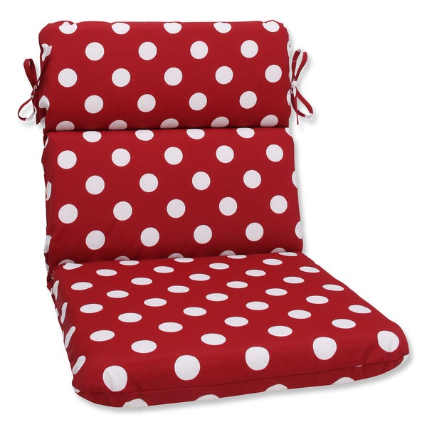 Pillow Perfect Outdoor Red/ White Polka Dot Round Chair Cushion